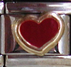 18K gold red heart charm by Zoppini