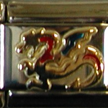 18K gold & enamel mythical winged dragon charms