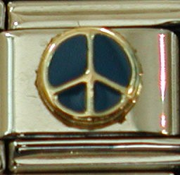 18K gold enamel peace sign charm by Zoppini