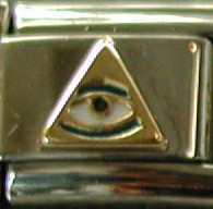 18K gold & enamel psychic all seeing eye pyramid charms