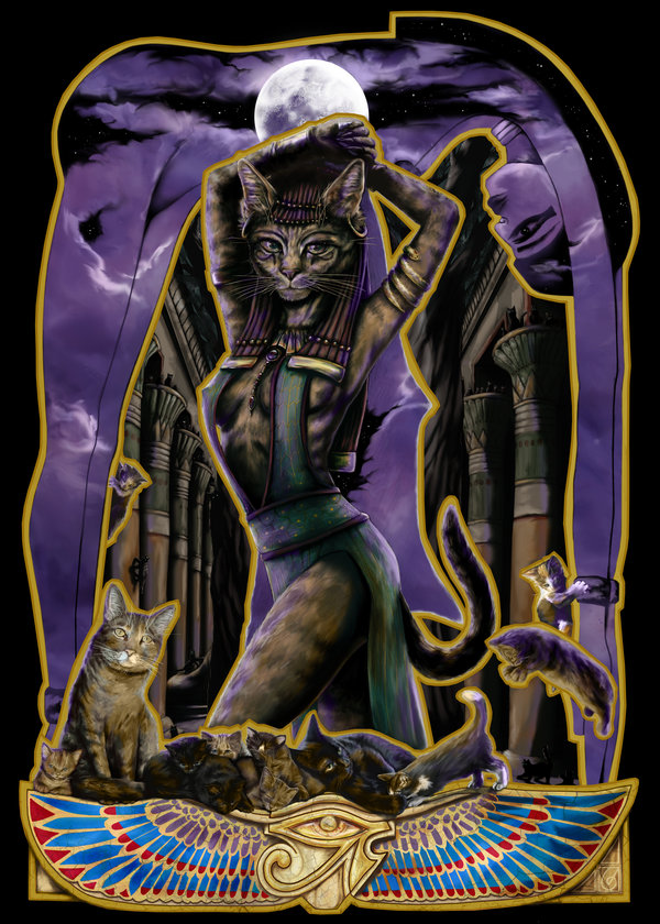 Cat Goddess Bast Panther Journey Scarab